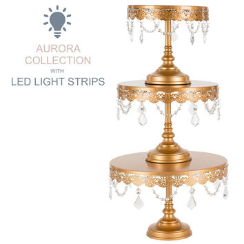 3-Piece Crystal-Draped LED Light Cake Stand Set (Gold)