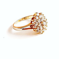 Rhinestone Cluster Ring Vintage Cocktail Ring Gold Size 8
