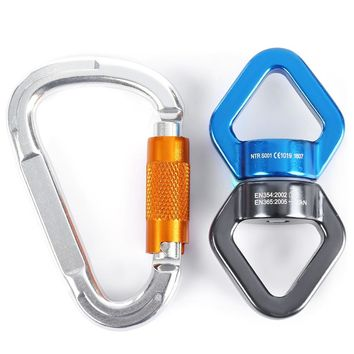 Rock Climbing Kit Rotational Rope Swivel Connector D-shaped Mountaineering Buckleg 360 Rotated Rock Climbing Rope  For Climbing