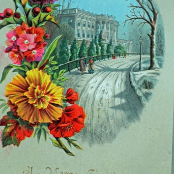 GREAT Large Christmas Card From the 1800s, Name Bertha S. Marshall, Hudson, NY Written on Back #604