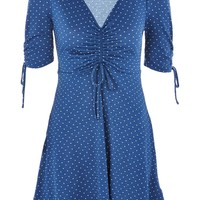 Spot Ruched Tea Dress