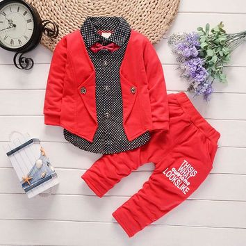 spring Baby Boys clothes outfit casual sports gentleman dot stitching suit for baby boys baby clothing long-sleeved jackets sets
