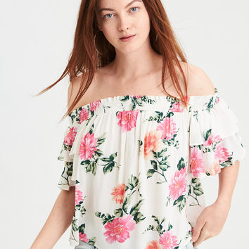 AE Off-The-Shoulder Ruffle Sleeve Top, Cream