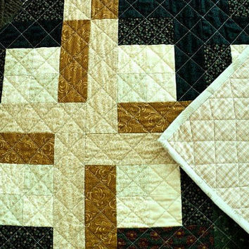 "Earthtone Patchwork Lap Quilt / Sofa Throw / Table Topper - 34"" square"