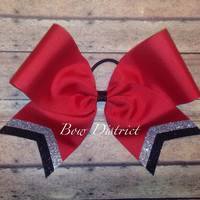 "3"" Red Team Cheer Softball Volleyball Bow with Silver and Black Glitter Tail Stripes"
