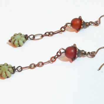 Antique Copper Dark Orange Carnelian and Czech Earring Dangles