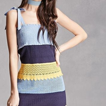 Crochet Colorblock Cami Dress