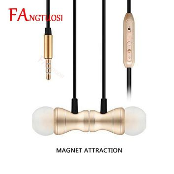 FANGTUOSI Magnet Metal Earphone In-ear Earphone Heavy Bass Sound Anti Sweat Sport Headset Handsfree Earbuds fone de ouvido