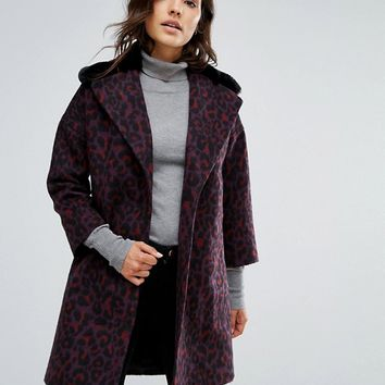 Helene Berman Wool Blend Revere Teddy Fur Collar Coat at asos.com