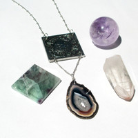 Two Fish. Pisces Sign Necklace. Groovy Vintage Zodiac & Agate Geode