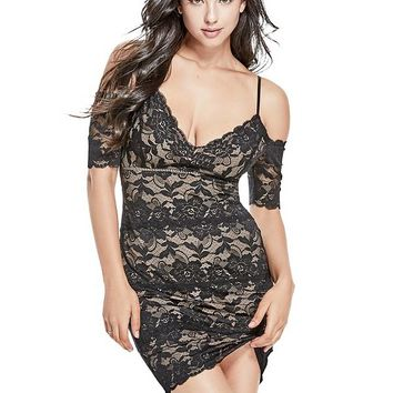 Marcy Off-The-Shoulder Lace Dress at Guess