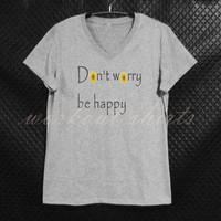 Don't worry be happy sunflower Short sleeve shirt gray tops/ teen girl tee/ women clothes size S M L XL workout shirts/ printed t shirt