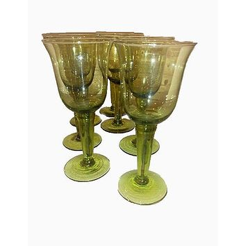 Olive Green Tinted Wine Goblets