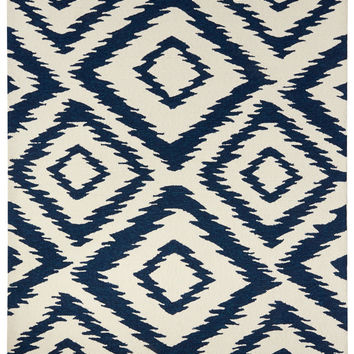 Catalina Ikat Cobalt Blue Outdoor Rug