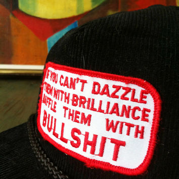 "Vintage 80's Trucker Funny ""Baffle Them With Bullshit"" Corduroy Snap Back Hat Rockabilly Mechanic Biker Truckers Only Grunge Adjustable"