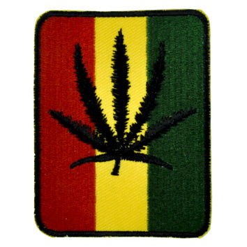 Rastafarian Pot Leaf Patch Iron On Applique Alternative Clothing Marijuana