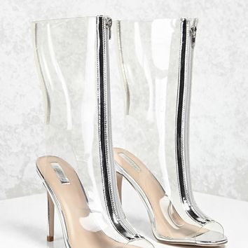 Metallic Stiletto Clear Boots