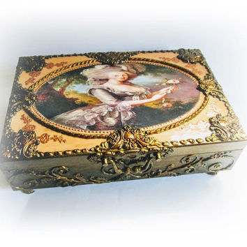 Marie Antoinette Wedding Baroque Wedding Card Box Money Box Ornate Card Holder Money Box Wishes Box Large Mirror Wedding Gift Jewlery Box