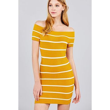 Ladies Short Sleeve Off The Shoulder Striped Mini Sweater Dress (a)