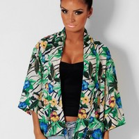 Jungle Fever Multicolour Floral Kimono Top | Pink Boutique