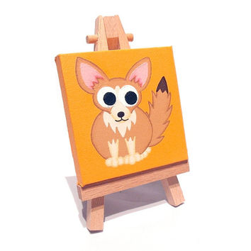 Fennec Fox Miniature Art - acrylic painting of a cute little fox on a mini canvas with easel