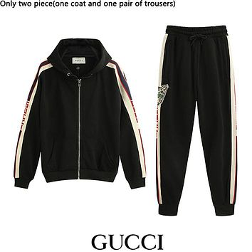 GUCCI hot seller of casual striped zip-up hoodies and stylish men's and women's suits