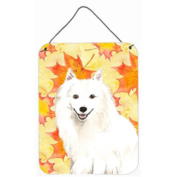Fall Leaves Japanese Spitz Wall or Door Hanging Prints CK1838DS1216
