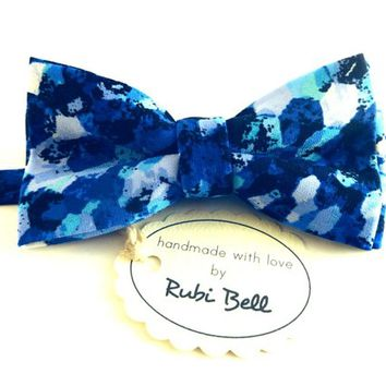 Bow Tie - blue bow tie - wedding bow tie - bow tie with blue pattern - man bow tie - men bow tie - gifts for him