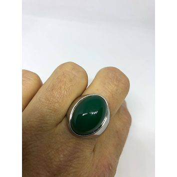 Vintage 1980's Gothic Silver Stainless Steel Genuine green Onyx Men's Ring