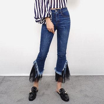 All-match Fashion Casual Tassel Gauze Stitching Jeans Flares Pants Trousers