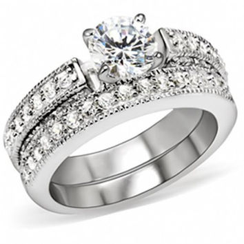 Sterling Silver 1 carat Round cut CZ Antique Style Pave Set Wedding Ring Set size 5-9