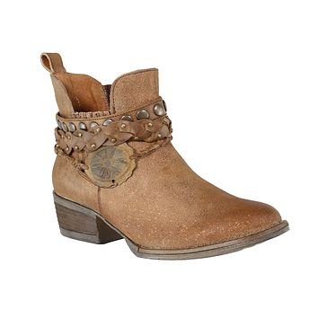Circle G by Corral Brown Harness & Studs Ankle Boot