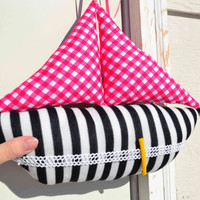 Plush Sail boat hair clip holder, girls hair pin accessory storage stripes pink gingham black white vintage lace elastic upcycled nautical