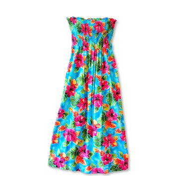 Hoopla Blue Maxi Hawaiian Dress