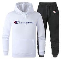 Champion Autumn And Winter New Fashion Letter Print Sports Leisure Women Men Hooded Long Sleeve Sweater Top And Pants Two Piece Suit White