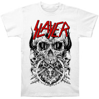Slayer Men's  Skulltagram On White T-shirt White Rockabilia