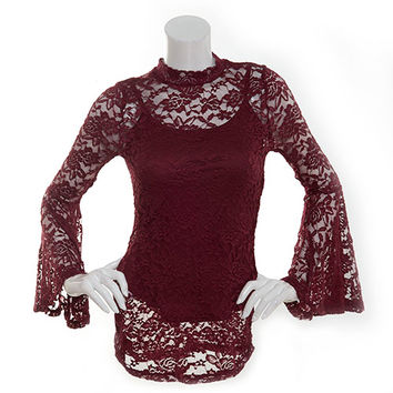 Juniors Almost Famous Lace Bell Sleeve Mock Neck Blouse