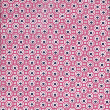 Vintage 1940s Pink and Black Feedsack Cotton Print Fabric - About 2 Yards in 4 Pieces