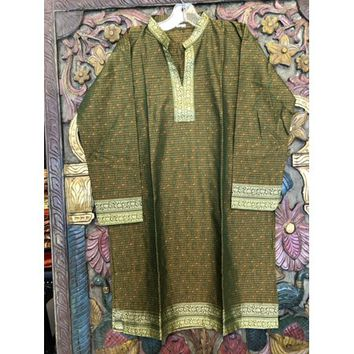 Mogul Women Green Long Dress 3/4 Sleeves Mandarin Collar Ethnic Wear Indian Fashion Summer Comfy Tunic M - Walmart.com