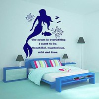 Quotes Wall Decals Girl Decal Vinyl Water Sticker Mermaid Art For Nursery Bedroom Home Decor Murals MN964