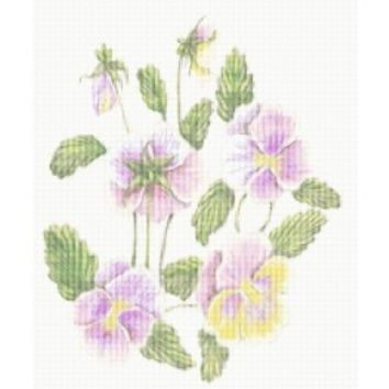 Pink Flowers, Pansies, Pansy, Flower, Floral, Counted Cross Stitch Pattern, Xstitch - X-Stitch-Patterns Counted Cross Stitch
