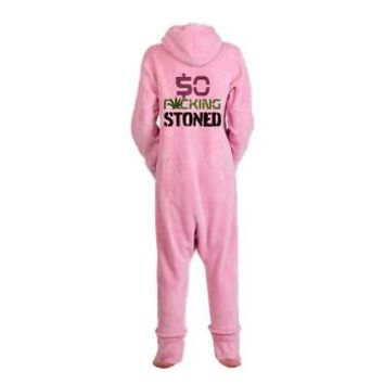 $O F*CKING STONED. Footed Pajamas> 420 Gear Stop