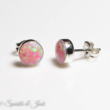Sterling Silver Pink Fire Opal 7mm Stud Earrings