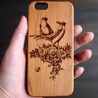 Romantic Birds Cherry Wood One Piece iPhone 6 6s Case , Wooden iPhone 6 6s Case Wood , Wood Phone Case for iPhone 6 6s , Valentine's Gift