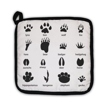 Potholder, Set Of Different Animal Tracks