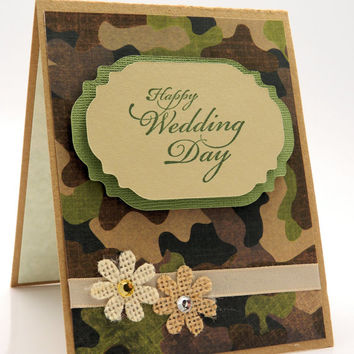 Camouflage Happy Wedding Day Greeting Card