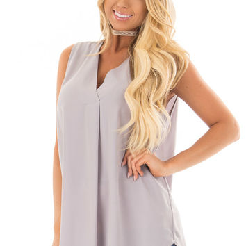 Grey Chiffon V Neck Sleeveless Blouse