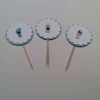Scalloped circle Baby Boy cupcake topper. Baby Shower Partypicks, Baby rattle, Baby bottle, Footprints. Baby shower; Cupcake toppers.