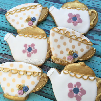 Tea Party Cookies Floral & Gold
