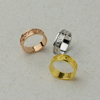 Personalized Greek Ring in Solid Gold and Silver - Custom Sorority & Fraternity Jewelry, Gift. 14k, 18k, 22k Solid Yellow, Rose, White Gold